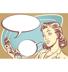 Surprised girl talking on the phone vector