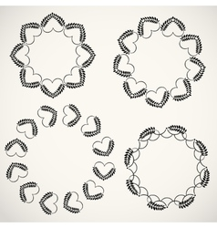 Laurel wreath heart tattoo set Wheats swirl vector image