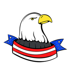Bald eagle with usa flag icon cartoon vector