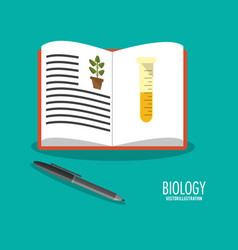 Science biology book pen icons vector