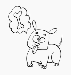 Dog think about bone freehand sketch vector