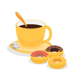 Donuts with coffee flat vector