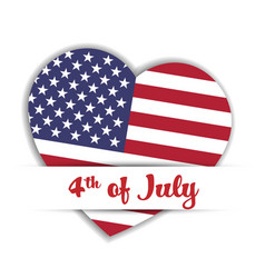 independence day card us flag in a shape of heart vector image
