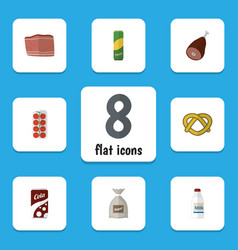 Flat icon meal set of beef tomato fizzy drink vector