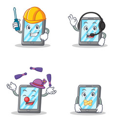 Set of tablet character with automotive headphone vector