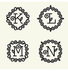 Monogram style linear with the letters k l m n vector
