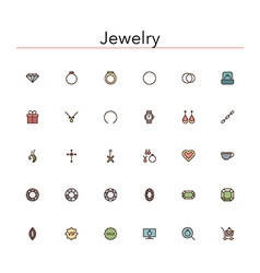 Jewelry colored line icons vector