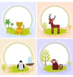 Deer bird penguin jaguar leopard set of cards vector