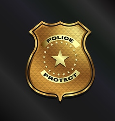 Gold police badge isolated on black background vector