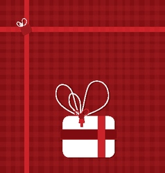 Present box on red with ribbons vector