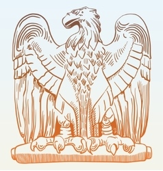 Drawing of heraldic sculpture eagle in rome italy vector