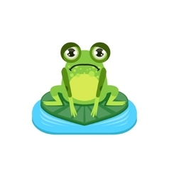 Upset cartoon frog character vector