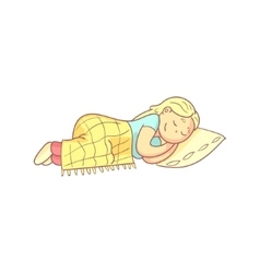 Girl taking a nap in bed vector