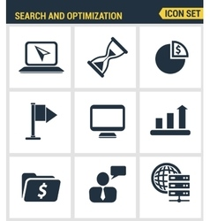 Icons set premium quality of website searching vector