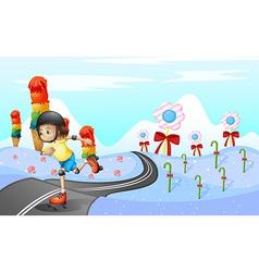 A girl skating at the road vector image vector image