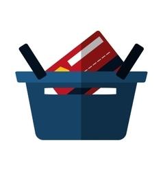 Basket buying online bank credit card color shadow vector