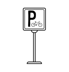 Bike or bicycle parking sign icon image vector