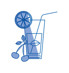 Blue shading silhouette of refreshing drink with vector