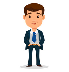business man cartoon character in smart clothes vector image vector image