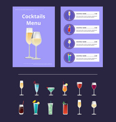 Cocktail menu advertisement poster champagne glass vector