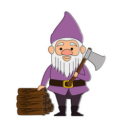 cute gnome with woodcutter ax character vector image vector image