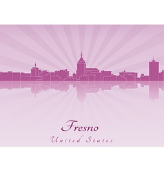 Fresno skyline in radiant orchid vector