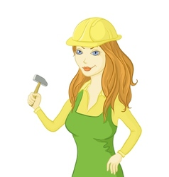 girl worker with a hammer vector image