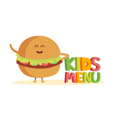 Kids menu funny 3d sign with burger characters vector