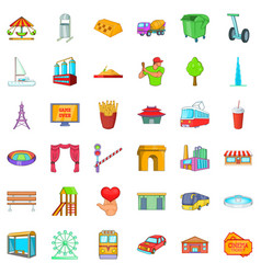 Main city icons set cartoon style vector