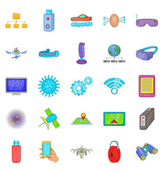 mechanism icons set cartoon style vector image