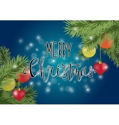 Merry christmas calligraphy on blue background vector