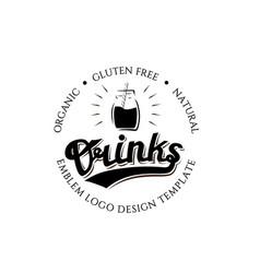 organic gluten free natural drinks round logo vector image