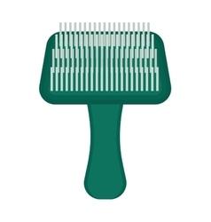 Pet brush grooming animal hair wool comb handle vector