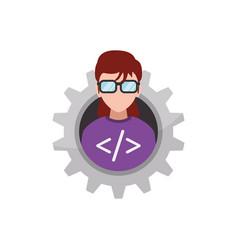 Programmer woman faceless glasses vector