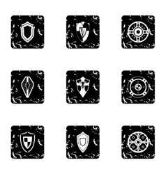 Protective shield icons set grunge style vector