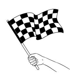 racing flag in hand coloring book vector image vector image