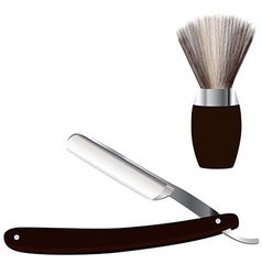Razor and shave brush vector image vector image