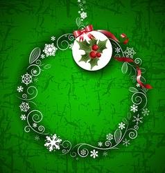 Romantic green christmas border design vector