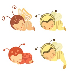 Sleeping Babies set vector image vector image