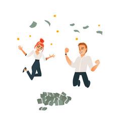 successful office man woman under money vector image vector image