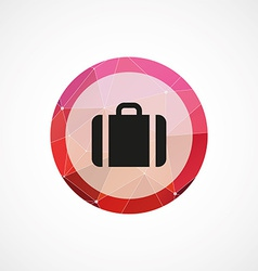 Suitcase circle pink triangle background icon vector