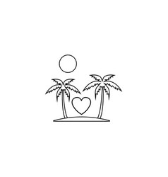 tour in valentines day line icon travel island vector image