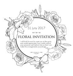 Vintage invitation card with black and white hand vector image vector image