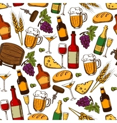 Alcoholic drinks and cocktails seamless pattern vector