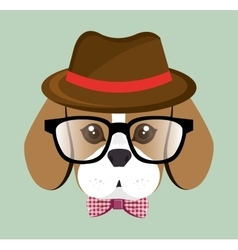 Cute hipster doggy hat glasses bow vector