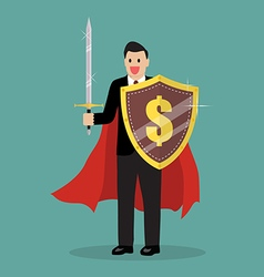 Businessman with shield and sword vector