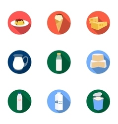 Milk product and sweet set icons in flat style vector