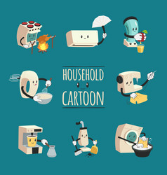 household appliances cartoon design concept vector image
