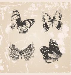 Grunge butterflies silhouettes vector