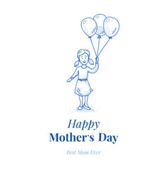 Happy mothers day daughter with balloons small vector
